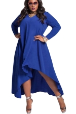 Womens V Neck Long Sleeve High Low Plus Size Dress Blue