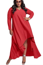 Womens V Neck Long Sleeve High Low Plus Size Dress Red