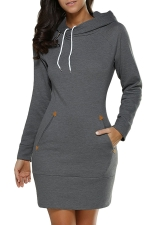 Womens Hooded Pockets Long Sleeve Sweatshirt Dress Dark Gray