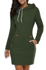 Womens Hooded Pockets Long Sleeve Sweatshirt Dress Green