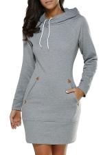 Womens Hooded Pockets Long Sleeve Sweatshirt Dress Light Gray