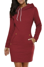 Womens Hooded Pockets Long Sleeve Sweatshirt Dress Ruby