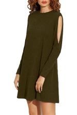 Womens Loose Open Long Sleeve Plain Smock Dress Army Green