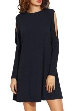 Womens Loose Open Long Sleeve Plain Smock Dress Black
