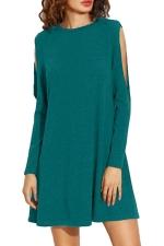 Womens Loose Open Long Sleeve Plain Smock Dress Turquoise