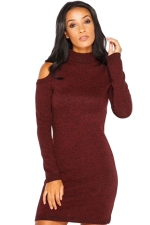 Womens Mock Neck Cold Shoulder Long Sleeve Sweater Dress Ruby