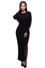 Womens Crochet Long Sleeve Side Slit Maxi Dress Black