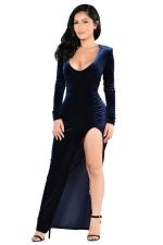 Womens Long Sleeve Side High Slit Draped Maxi Dress Blue