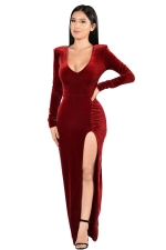 Womens Long Sleeve Side High Slit Draped Maxi Dress Ruby