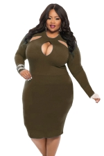 Womens Cut-out Long Sleeve Midi Plain Plus Size Dress Army Green