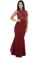 Womens Rhinestone Sleeveless Mermaid Maxi Evening Dress Ruby