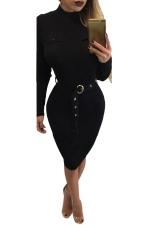 Womens Mock Neck Long Sleeve Midi Sweater Dress Black