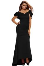 Womens Ruffled Backless Accent Maxi Evening Dress Black