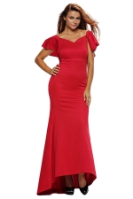 Womens Ruffled Backless Accent Maxi Evening Dress Red