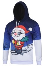 Womens Funny Skiing Santa Claus Printed Pullover Christmas Hoodie Red
