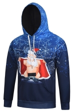 Womens Long Sleeve Funny Santa Claus Printed Christmas Hoodie Navy Blue