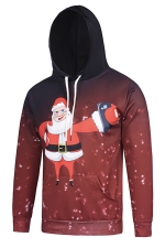 Womens Funny Santa Claus Printed Pullover Christmas Hoodie Red