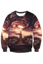 Womens Crewneck Imaginary Wonder Printed Pullover Sweatshirt Brown