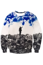 Womens Imaginary Wonder Printed Long Sleeve Pullover Sweatshirt Blue