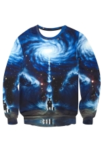 Womens Crewneck Imaginary Universe Printed Long Sleeve Sweatshirt Blue