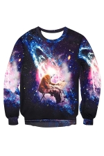 Womens Pullover Imaginary Galaxy Printed Long Sleeve Sweatshirt Purple