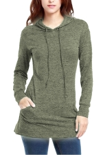 Womens Long Sleeve Pocket Plain Drawstring Hoodie Army Green
