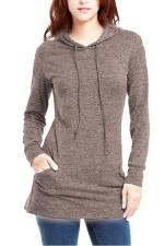 Womens Long Sleeve Pocket Plain Drawstring Hoodie Brown