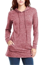 Womens Long Sleeve Pocket Plain Drawstring Hoodie Dark Red