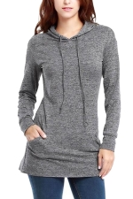 Womens Long Sleeve Pocket Plain Drawstring Hoodie Gray