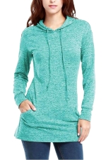 Womens Long Sleeve Pocket Plain Drawstring Hoodie Light Blue