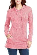 Womens Long Sleeve Pocket Plain Drawstring Hoodie Pink
