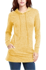 Womens Long Sleeve Pocket Plain Drawstring Hoodie Yellow