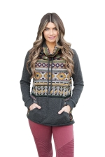Womens Drawstring Cowl Neck Exotic Printed Long Sleeve Sweatshirt Gray