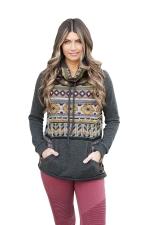 Womens Drawstring Cowl Neck Exotic Printed Long Sleeve Sweatshirt Gray