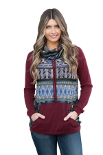 Womens Drawstring Cowl Neck Exotic Printed Long Sleeve Sweatshirt Ruby