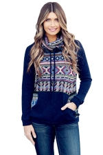 Womens Drawstring Cowl Neck Exotic Printed Sweatshirt Navy Blue
