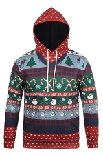Womens Candy Cane Printed Long Sleeve Polka Dot Christmas Hoodie Red