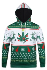 Womens Long Sleeve Pullover Reindeer Printed Christmas Hoodie Green