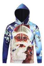 Womens Funny Santa Claus Printed Long Sleeve Pullover Christmas Hoodie Blue
