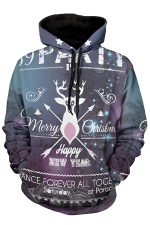 Womens Merry Christmas Printed Long Sleeve Pullover Hoodie Dark Purple