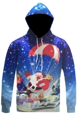 Womens Christmas Santa Snowman Printed Long Sleeve Hoodie Blue