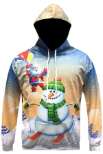 Womens Long Sleeve Snowman Printed Drawstring Christmas Hoodie White