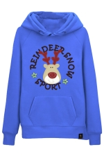 Womens Drawstring Reindeer Printed Long Sleeve Pocket Hoodie Blue