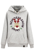 Womens Drawstring Reindeer Printed Long Sleeve Pocket Hoodie Gray