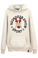 Womens Drawstring Reindeer Print Long Sleeve Pocket Hoodie Light Gray
