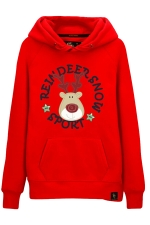 Womens Drawstring Reindeer Printed Long Sleeve Pocket Hoodie Red