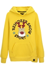Womens Drawstring Reindeer Printed Long Sleeve Pocket Hoodie Yellow