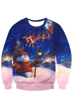 Womens Crewneck Snowman Printed Pullover Christmas Sweatshirt Blue