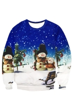 Womens Christmas Night Printed Long Sleeve Pullover Sweatshirt Blue