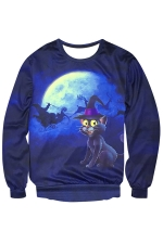 Womens Crewneck Magic Cat Printed Christmas Sweatshirt Navy Blue